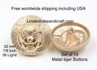 Tiger buttons, Tigers head button, Gold tiger buttons, Free worldwide shipping